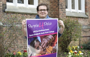 QE's Interact Club joins  Purple4Polio Campaign